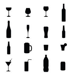 Set Of Sixteen Drink Black Silhouettes vector image