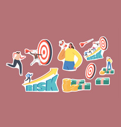 set stickers tiny business characters throw vector image