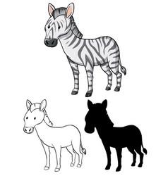 Set zebra cartoon vector