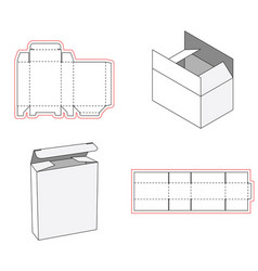 Simple box packaging die cut out template design vector