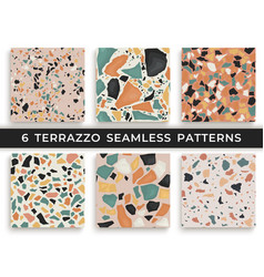 Six seamless terrazzo patterns hand crafted and vector