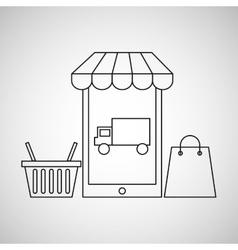 smartphone e-commerce basket bag shop delivery vector image
