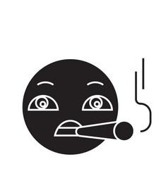 smoking emoji black concept icon smoking vector image