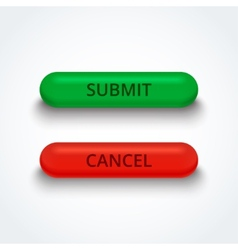 Submit and cancel 3d buttons vector