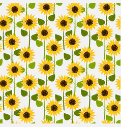 sunflowers on white pale background seamless vector image