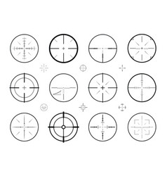 Target sight sniper set of icons hunting rifle vector