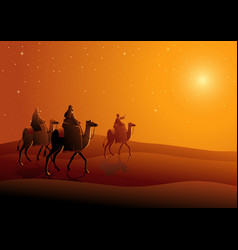 three wise men journey to bethlehem vector image