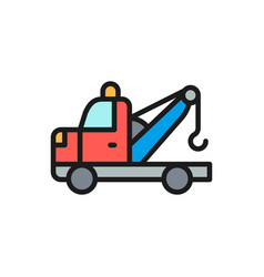 tow truck flat color line icon isolated on white vector image