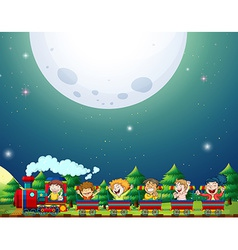 Train and fullmoon vector image