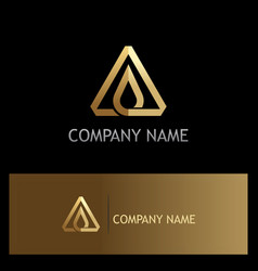 Triangle water drop shape gold logo vector