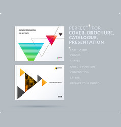 triangular design presentation template with vector image