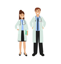 Two doctor in hospital flat design vector