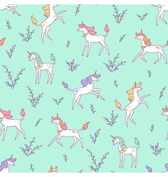 unicorns pattern meadow vector image