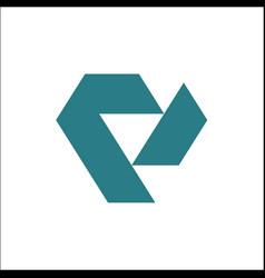 V triangle logo template vector