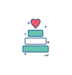 valentines heart cake icon design vector image