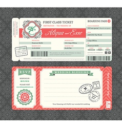 Vintage Boarding Pass Ticket Wedding Invitation vector