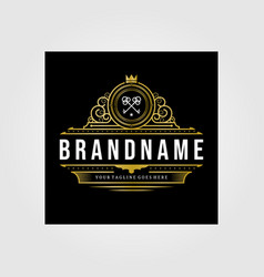 Vintage premium retro brand logo business design vector
