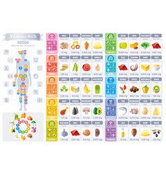 vitamin rich food icons healthy eating vector image
