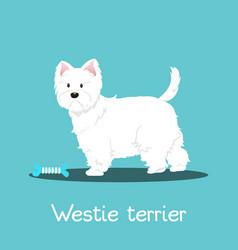 Westie terrier dog with bone on sky blue vector