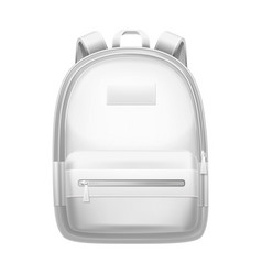 White backpack school bag realistic 3d mockup vector