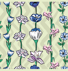wild flowers seamless pattern zig zag olive sage vector image