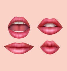 woman lips realistic smile mouth juicy kiss vector image
