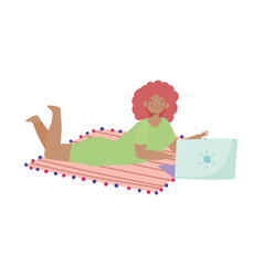 young woman with laptop in floor working isolated vector image