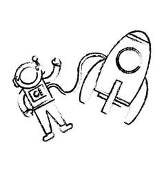 astronaut rocket floating sketch vector image vector image