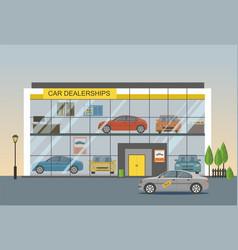 car dealership showroom interior vector image vector image