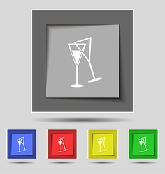 Champagne glass icon sign on original five colored vector