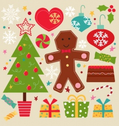 cute Christmas set vector image vector image