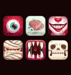 scary app icons on black background vector image