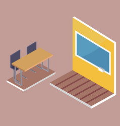 school desk side view and blackboard 3d vector image vector image
