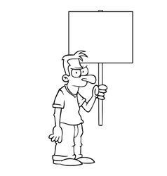Black and white angry man with protest sign vector image vector image