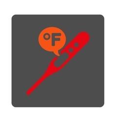 Fahrenheit temperature rounded square button vector