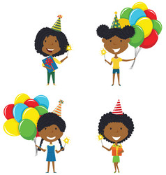 happy african-american girls carrying colorful vector image vector image