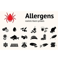 Medical allergy icon set Food and common vector image vector image