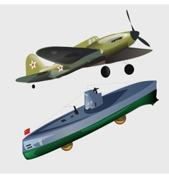 Military aircraft and submarine vector image vector image