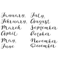 months of year handmade names of handwritten font vector image vector image