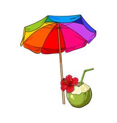 rainbow colored open beach umbrella and coconut vector image
