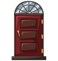 red door with wooden frame vector image