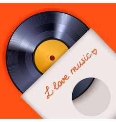 Vinyl record with cover poster vector image