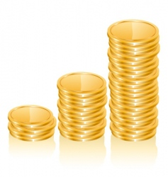 Graph of gold coins vector