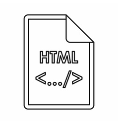 HTML file extension icon outline style vector image vector image
