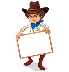A cowboy holding an empty frame vector image