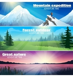 Camping Outdoor Nature Horizontal Banners Set vector image vector image