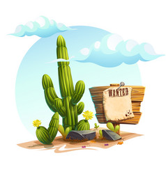 cartoon of a cactus wanted vector image vector image