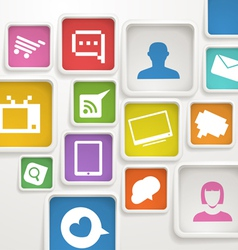 color boxes with media icons vector image vector image