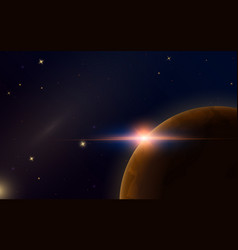 sunrise in space red planet mars astronomical vector image