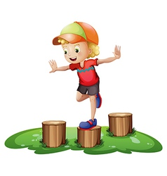 A young boy playing with the stump vector image